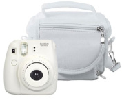 Travel Bag Carry Case for Fuji Instax Mini 8/ Mini 90 (Room for Spare Film / Accessories and more) - White