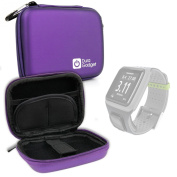DURAGADGET Premium Quality Purple Hard EVA Shell Case with Carabiner Clip & Twin Zips - Compatible with the TomTom Runner / Runner 2 Fitness Watch and TomTom Spark Cardio + Music Watch