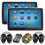 2 x Sonic Audio ® HR-10CT - Universal Touch-Screen 26cm Tablet-Style Clip-On Headrest DVD Player/Screen with USB/SD and Wireless Infrared Headphones - Plug-and-Play Rear-Seat Entertainment System