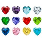 12PCS Crystal Heart Birthstones Floating Locket Charms 5mm For Living Memory Lockets Necklace & Bracelets