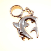 Sterling Silver Great White Shark Dangle Bead /Charm To Fit European Style Charm Bracelets