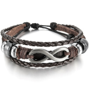 MunkiMix Alloy Genuine Leather Bracelet Bangle Cuff Silver Tone Brown Black Love Infinity Symbol Surfer Wrap Tribal Adjustable Fit 7~23cm Men,Women