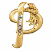 Joe Cool Brooches Initial 'p' Cat/stones Made With Pewter & Gold Plated