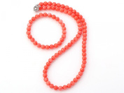 Charming Natural 7mm Pink Coral Necklace and Bracelet Jewellery Set - Presented in A Beautiful Jewellery Gift Box