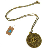 Pirates of the Caribbean Aztec Coin Medallion Skull Charm Necklace