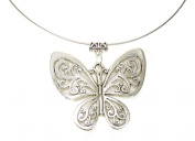 Beautiful Large (6x5cm) Antique Silver Cut-out Butterfly Pendant on Wire Choker Necklace