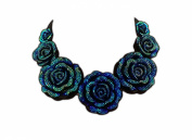Blue Flower Fabric Statement Bib Necklace, Costume Jewellery, Gift for Her