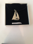Yacht PP-T13 English Pewter on a Black Cord Necklace Handmade 41CM
