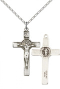 Sterling Silver St. Benedict Crucifix Pendant with 46cm Sterling Silver Lite Curb Chain. Patron Saint of Monks/Poison Sufferers