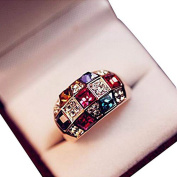 YAZILIND Jewellery Luxury Gold Plated Colourful Rhinestone Ring for Women