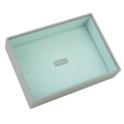STACKERS 'CLASSIC SIZE' Dove Grey Cross Hatch Deep Open Section STACKER Jewellery Box with Mint Lining.