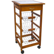 Home Discount® 3 Tier Kitchen Trolley Cart Storage Baskets Drawer Chopping Board, Brown