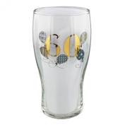 Wendy Jones Blackett Designer 60 60th Birthday Gold & Silver beer pint glass in Gift Box