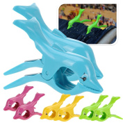 SUN LOUNGER BEACH TOWEL WIND CLIPS SUNBED PLASTIC PEGS FUN POOL CRUISE DOLPHIN