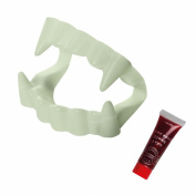 New Vampire Dracula Countess Teeth and Fake Blood Set Kit Scary Fancy Dress Costume Accessory - GLOW IN THE DARK - Count Fangs Bloodsucker One Size Fits Adults Children