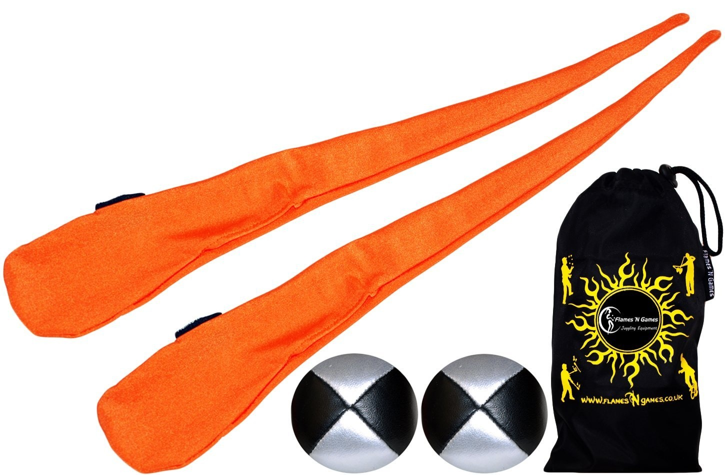 Flames N Games Sock Poi ORANGE Spinning Poi Pair of Pro Stretchy Lycra Poi