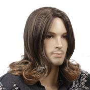 STfantasy Fashion 48cm Long Curly Brown Men Wigs ( Tangle Free )