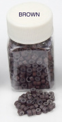 500 PCS 5mm Brown Colour Silicone Lined Micro Rings Links Beads Linkies For I bonded Tipped Hair Extensions