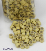 500 PCS 5mm Blonde Colour Silicone Lined Micro Rings Links Beads Linkies For I bonded Tipped Hair Extensions