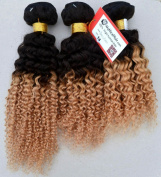 My Nice Hair-- 3 Bundles of 50cm Brazilian Two Tone Blonde Ombre 1B#/27# Human Remy Hair Extensions Weave kinkys curly,300Grams,2-4 days speedy delivery