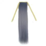 Stepupgirl 50cm Light Granny Grey Colour Straight Synthetic Ponytail with Souvenir Card