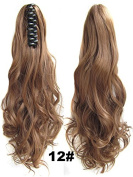 Beauty Wig World Mother's Day 20inch 50cm 100g Long Wave Curly Woman Claw Clip Ponytail Clip on/in Hair Extensions - #12 Light Golden Brown