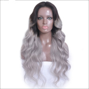 Ombre Grey Colour Brazilian virgin Human Hair Glueless Lace Front Human Hair Wig 130 Density Full Lace Wig For Black Women with Baby Hair