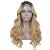 Brazilian Virgin Human Hair Lace Front Ombre Wig Glueless Full Lace Wavy Wig for Black Women 130 density