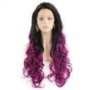 Mxangel Long Wavy Black Purple Ombre Two Tone Half Hand Tied Synthetic Lace Front Wig Natural