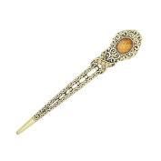Eastlion Antique Bronze Diamond Butterfly Hairpins Hair Stick Coffee