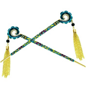 Fashion & Lifestyle 2 Count Hair Decor Chinese Traditional Style Hair Sticks Shawl Pins Picks Pics Forks for Women Girls Hair Updo Making Accessory 17cm ,Blue Green
