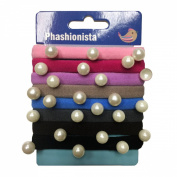 8 pcs no-damage Soft metal free elastics with Pearls for Girls Kids ladies Baby