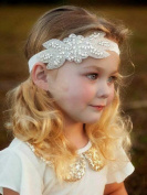 Venusvi Elastic Fabric Headbands Flower Girl Headband, Rhinestone Headband, Bridal Headband, Crystal Headband