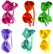 Syleia Fashion Headbands with 10cm Bow, Set of 6 Pink, Orange, Green, Lavender, Teal and Yellow - School and Playtime Perfect Hair ...