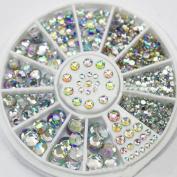 LKE 5 Sizes White Multicolor Acrylic Nail Art Decoration Glitter Rhinestones