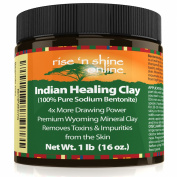 Bentonite Indian Healing Clay (470ml) - 100% All Natural Face Mask Detox, Organic Skin Pore Cleansing, Rejuvenates Skin and Hair, Helps Acne, Psoriasis and Eczema - Pure Sodium Bentonite from Wyoming