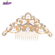 SEP Gold Rhinestone CZ Bridal Wedding Hair Comb Pins Accessories Jewellery FA5030GCL