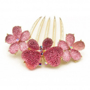 Winson Women's Bling Flower Butterfly Clear Facted Hair Comb Fringe Pin Clip Accessory Pink