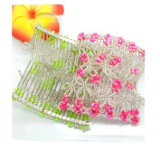Lovef 2pcs Magic Hair Beauty Decoration Comb Mixed Beads Flower Rose Hairpin Bow Lady in Rose Red and Green