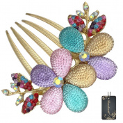 Donalworld Women Bohemia Flowers Rhinestones Jewellery Crystal Rhinestone Flowers Hair Comb Pin