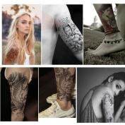 BININBOX 5 Sheets Temporary Tattoo Stickers, Buddha, Carp, Skull