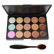 EVERMARKET 15 Colours Professional Concealer Camouflage Makeup Palette Contour Face Contouring Kit with Premium Oval Make Up Brush
