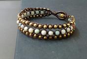 Handmade Bracelet Triple Layer Amazonit Brass Bracelet