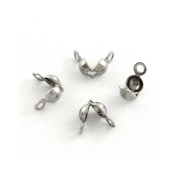 Pack of 30 x Silver Stainless Steel 4 x 6mm Bead Tips Clamshells Calottes - (Y01610) - Charming Beads