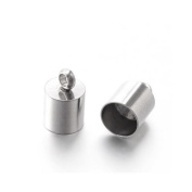 Packet of 5 x Silver Stainless Steel 6 x 10mm Kumihimo Barrel End Caps - (Y00800) - Charming Beads