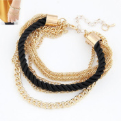Luxury Handmade Braided Woven Rope Multilayer Gold Chain Bracelet -5 Colours-unisex