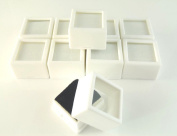 Generic YC-US2-160411-185 _8 & 3424*1_ ds/coinlass Top Ge Glass Top 10 PC 2.7cm x 1.9cm Gem Box/jar WHITE SQUARE storage/display beads/coin 10 PC 1-1/1