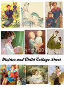 Mother and Child Art Image Collage Sheet. Mother's Day #105