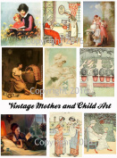 Mother and Child Art Image Collage Sheet. Mother's Day #104