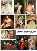 Mother and Child Art Image Collage Sheet. Mother's Day 103